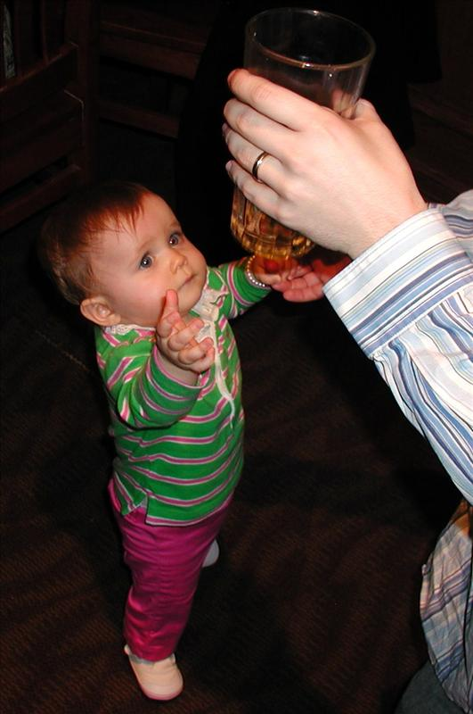 Daddy give me a drink, that looks much better than my bottle