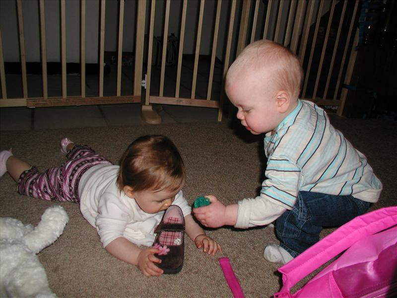 Gavin being quite the gentleman offering Molly his binky