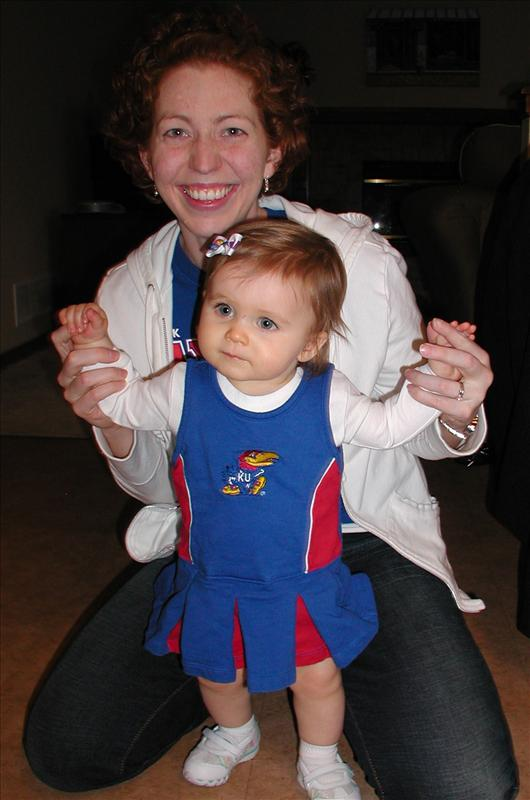 Molly and Mommy getting excited for the national championship game