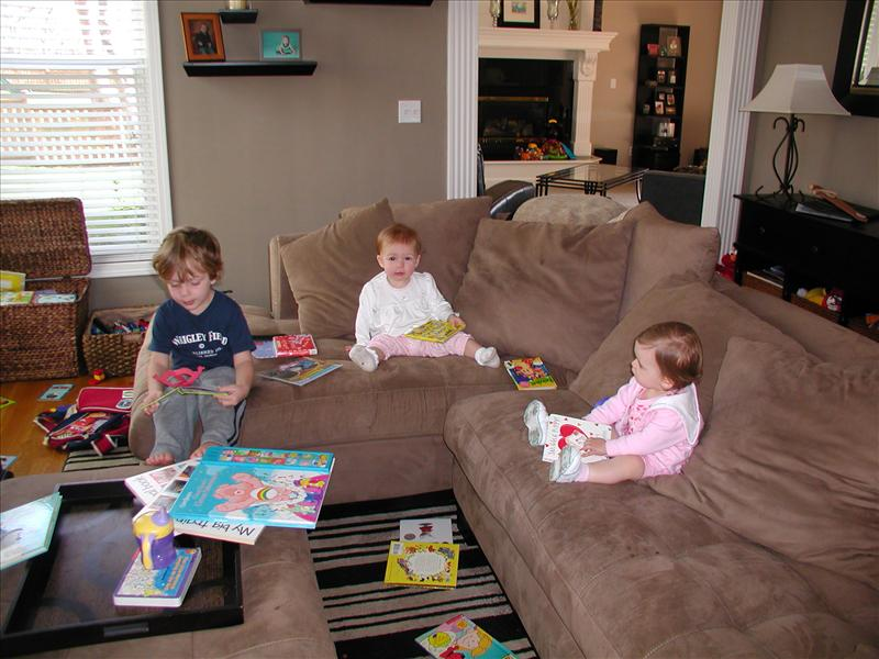 Molly, Cole and Jensen doing a little reading