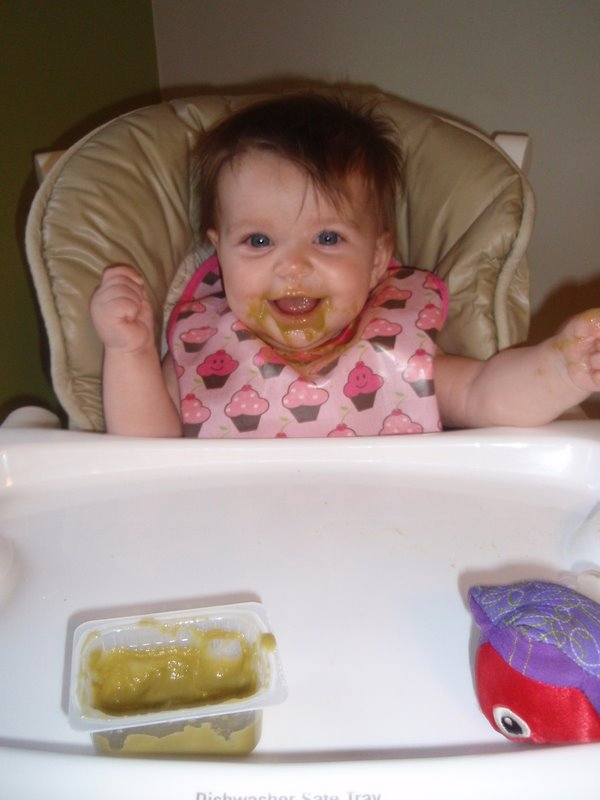 First time eating in a high chair!