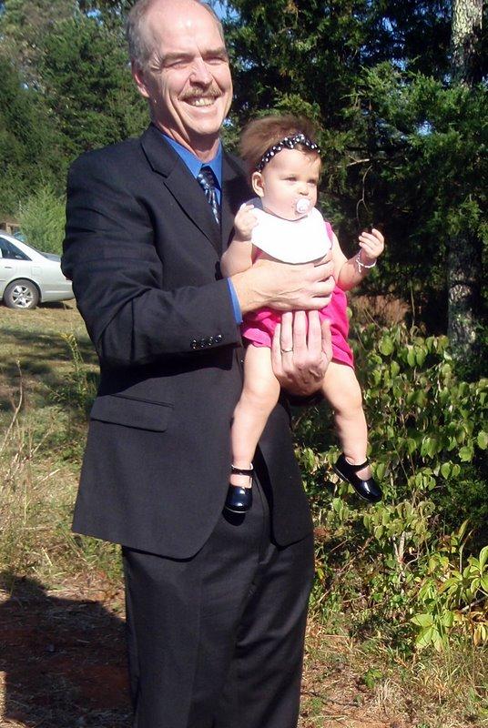 Papa escorting Charlotte into the wedding