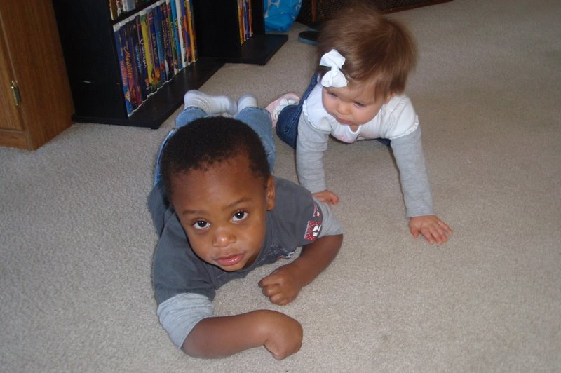 Charlotte and Reece crawling around