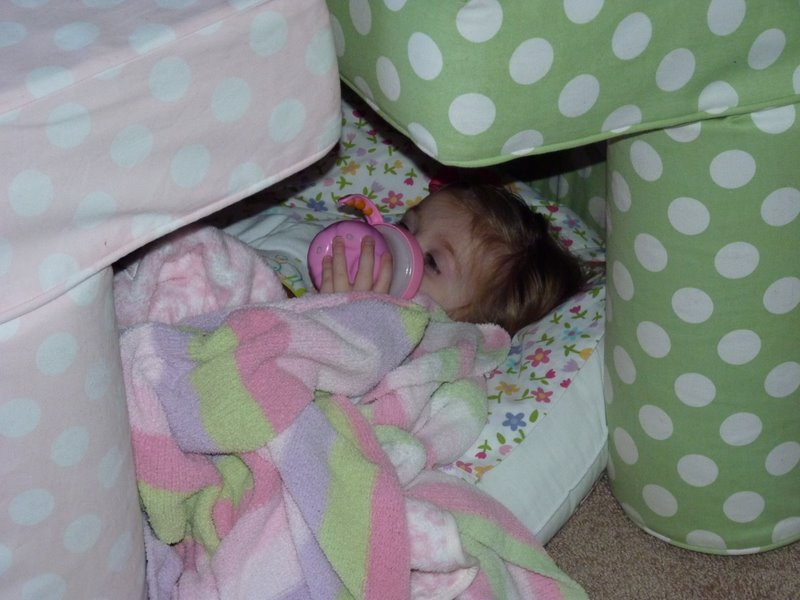 Sleeping in the fort Molly made for her