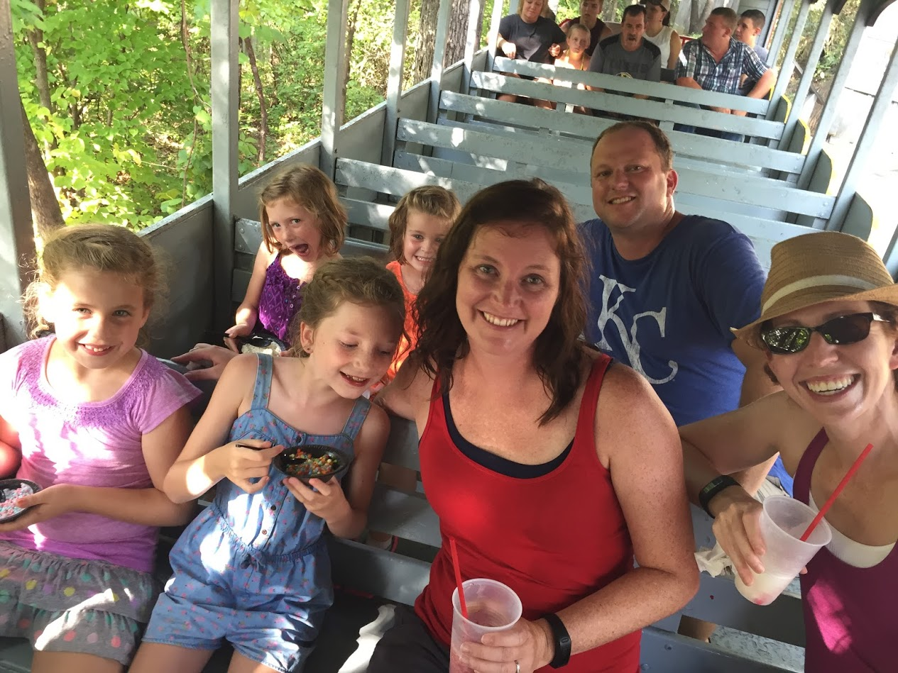 Riding the train in Silver Dollar City